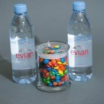 Logo Candy Jar with Two Evian Waters