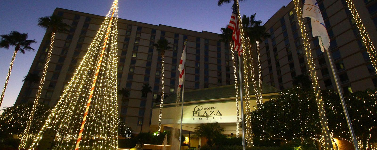 Rosen Plaza lit up for the holidays